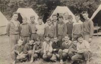 Ladislav Jakub at a pioneer's camp in 1961 (bottom right)