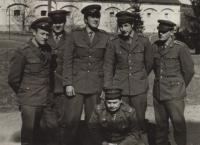 Ladislav Jakub with the crew in Český Krumlov in 1970