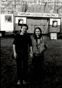 With her husband in 1989