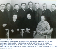 Siblings Maláč, children of Josef and Jenovefa. Gustav Josef, the father of the witness, second from the right, 1943