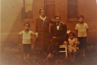 The Maláč family, Vlastislav on the right with siblings Jiřina and Bořivoj, Pilsen 1933