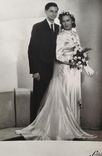 A wedding photo of Jiřina and Vlastislav Maláč, Prague, May 22, 1948