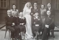 A wedding photo of Bořivoj and Mariana Maláč, Vlastislav on the right with his wife Jiřina, Prague, April 16, 1949
