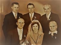 A wedding photo of Jiřina, the witness' s sister, Vlastislav on the left, 1978