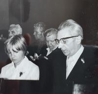 Vlastislav Maláč in the choir of the Evangelical Methodist Church, Prague 1978