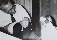 Vlastislav Maláč at home with his son, Prague 1980