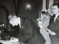 Wedding ceremony of his sister Jiřina, Vlastislav is signing as the witness, 1978