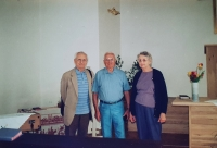 Vlastislav (on the left) with his brother Bořivoj and his wife Marian, Prague 2002