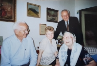 Vlastislav (standing) with his brother and a family, Prague 2002