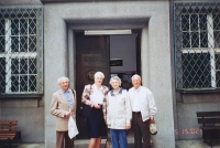 Vlastislav (on the left) with his brother Bořivoj and his wife Marian in front of the ECM church building, Prague 2002