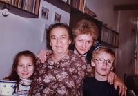 His wife Jiřina with their grandchildren, Prague 1989