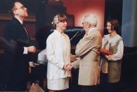 Vlastislav Maláč congratulates the newlyweds Kodet on the wedding, ECM Church Headquarters, Prague 2000