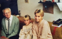 Vlastislav with his granddaughters, Prague 1998