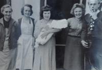 Mom Anna Slováčková, aunt Jiřina Fárková from Horní Bečva, also a fellow prisoner, Žofie Zlámalová, née Slováčková, holding her daugter Jana, her fellow prisoners, couple Hana and Otakar Trunec