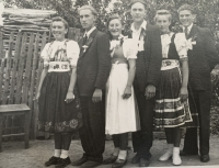 Helena Aková in the traditional folk fress of Rozvadze (second from the right)