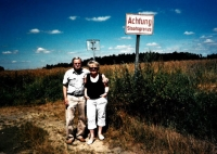 With his wife at the place where in 1953 he illegally crossed the border from Czechoslovakia to Austria