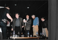 "David Černý, György Konrád, György Varga, Vráťa Brabenec and Václav Havel at the cultural event of the Czech Centre in Budapest ""My City"", 2009"