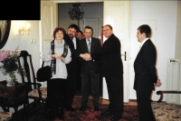 At the Embassy of Hungary with his wife, Prof. Petr Rákos and Ambassador Kristóf Forraim, Prague, October 2000