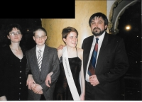 At his daughter´s Adéla graduation ball with his wife and son Ota, Prague 1999