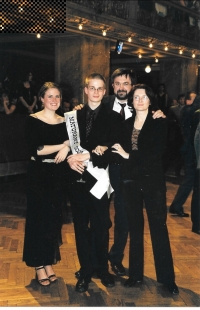 At his son´s Ota graduation ball with his wife and daughter Adéla, Prague 2003
