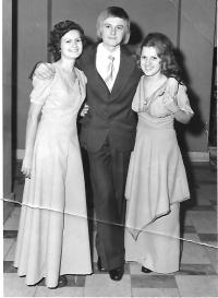 Graduation ball at the grammar school with Alice Miklós (left) and Magda Geri (right), Fiľakovo, 1976
