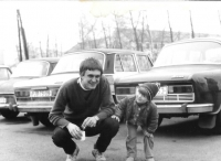 Before starting military service, with his daughter Adéla, Janovice, April 1, 1984