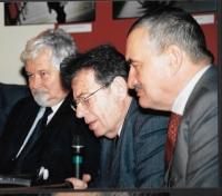 From the left: Petr Pithart, György Konrád and Karel Schwarzenberg, Budapest 2004