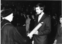Graduation from university, getting the degree of PhDr., Prague Karolinum 1987