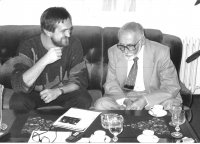 As an Új Szó editor interviewing Miloš Kopecký, Prague 1987