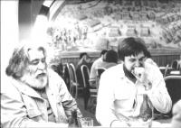 As a representant of the Hungarian Cultural Centre, interviewieng Sándor Sára, Hungarian director and documentary filmmaker, Bílá Hora pub, Prague 1988