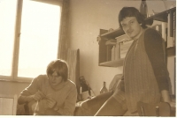 With his friend Gábor Farnbauer (on the left) at the Větrník-South students residence, Prague about 1977