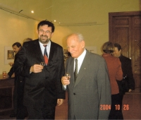 With Hungarian President Árpád Göncz at the Embassy of the Czech Republic, Budapest, about 1999