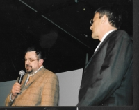 """With the Mayor of Budapest Gábor Demszky at """"My City"""" festival, an event of the Czech Centre in Budapest, 2009"""
