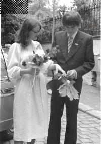 Evžen Gál and Dana Šplíchalová wedding, Prague, July 10, 1980