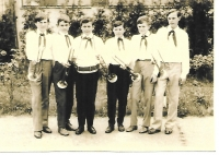 Evžen Gál (second from the right) as a member of the fanfare band of the pioneer organization, Fiľakovo, 1969