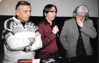 An evening in honour of Bohumil Hrabal - from the left Jiří Menzel, László G. Szabó and Péter Esterházy, Budapest 2007