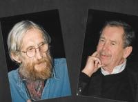 """Vrat'a Brabenec and Václav Havel at the Czech Centre """"My City"""" festival, Budapest, 2009"""