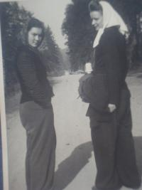 during forced labor, Lidmila Daňková on the left