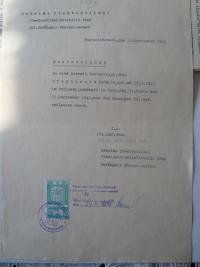Dismissory paper from Terezín, transcription