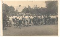 František Wiendl (in dark clothes on scooter - 2nd from the right), 30's, school procession, Voříškova street Klatovy