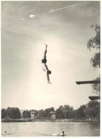 Jump, outdoor swimming pool at Uhlava river, 60's