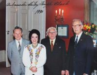 MK on left with US Ambassador Shirley Temple-Black during 45th Anniversary of Dachau concentration camp liberation