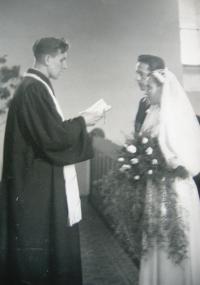 M. Spáčil as a CČS clergy in Vsetín 1952