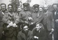 M. Spáčil with the Russian soldiers in May 1945