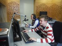 Students from the project Stories of our neighbours during the radio reportage about Pavel Oliva