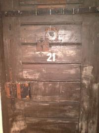 Cell door in Terezín's Small Fortress