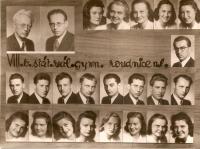 Graduation photographs of the Roudnice high school, 1945