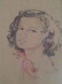 Irma in Terezin as drawn by E. Blažková, 1942