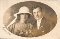 The witness's parents' wedding photo - Emilie and Josef Stelčovský