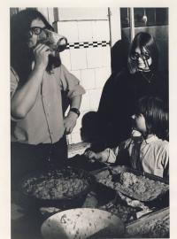 I. M. Jirous cooking in Jecna, cca 1975